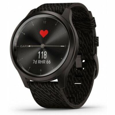 Garmin Vívomove Style + fekete Nylon szíjjal, szürke csattal, fekete