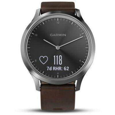 Garmin Vivomove HR Prémium + sötétbarna bőrszíjjal L, ezüst