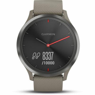 Garmin Vivomove HR Sport + homokkő szilikon szíjjal (127-204 mm.) fekete