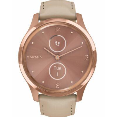 Garmin Vívomove Luxe + kő színű bőr szíjjal, 18K arany csattal, rozéarany