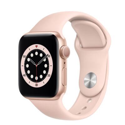 Apple Watch Series 6 40 mm + homokrózsaszín sportszíj arany