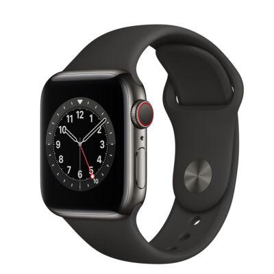 Apple Watch Series 6 44 mm + fekete sportszíj szürke