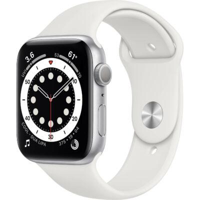 Apple Watch Series 6 44 mm + fehér sportszíj ezüst