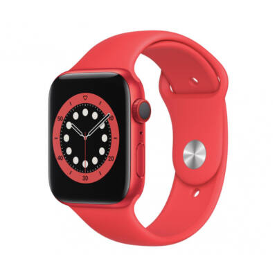 Apple Watch Series 6 44 mm + piros sportszíj piros