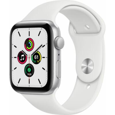 Apple Watch SE GPS 44mm + fehér sportszíj ezüst